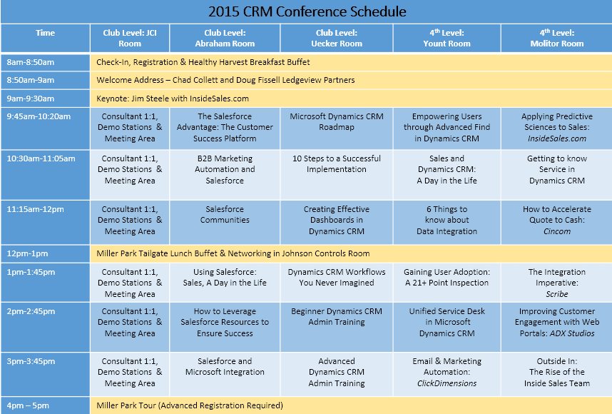 2015 CRM Conference Schedule of Events 10-2015