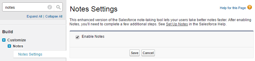 Notes Settings Salesforce