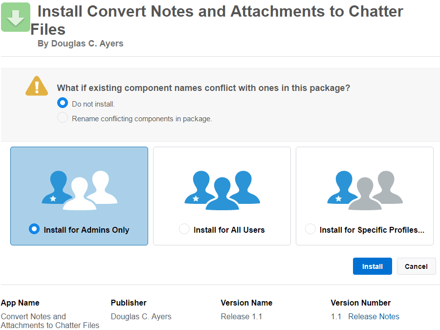 Salesforce install converted notes